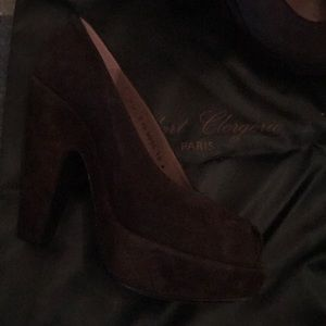 Robert Clergerie brown suede platform shoes